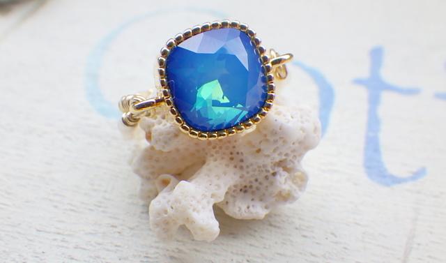 ☆再販☆ Deep Blue Ocean ヴィンテージスワロと淡水パールのリング