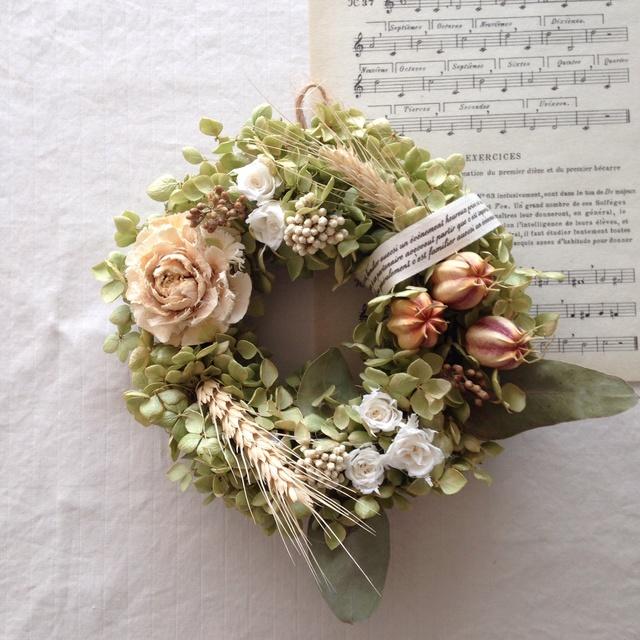 アナベルと小麦の wreath