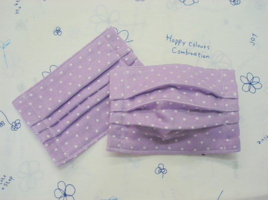 【sold out】 大人用プリーツマスク (紫・ドット) ☆ happy-g