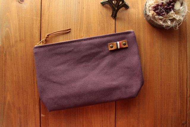 H973 帆布シンプルマチありポーチ Mサイズ -懐かし紫-