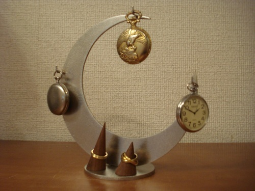 三日月3本掛け懐中時計スタンド 指輪スタンド付き