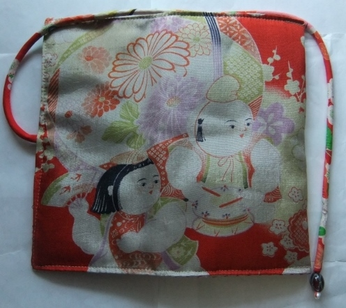 着物リメイク 花柄の着物で作った和風財布 1694