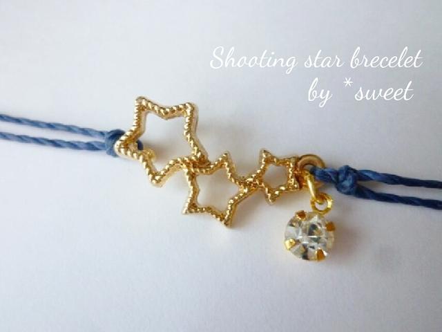 願いを込めて..shooting starコードブレスレット/イニシャル/20色