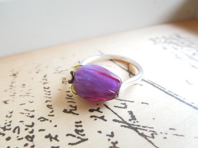 【FT】薔薇のつぼみリング(紫×銀)