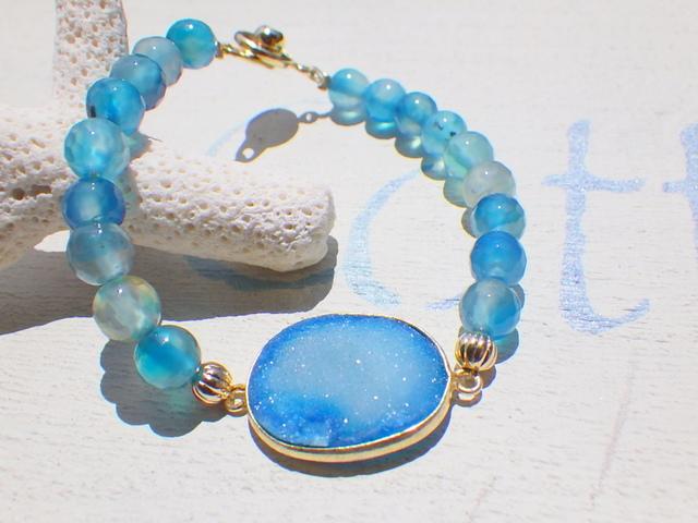 Ocean Druzy Bracelet--オーシャンブルーアゲート