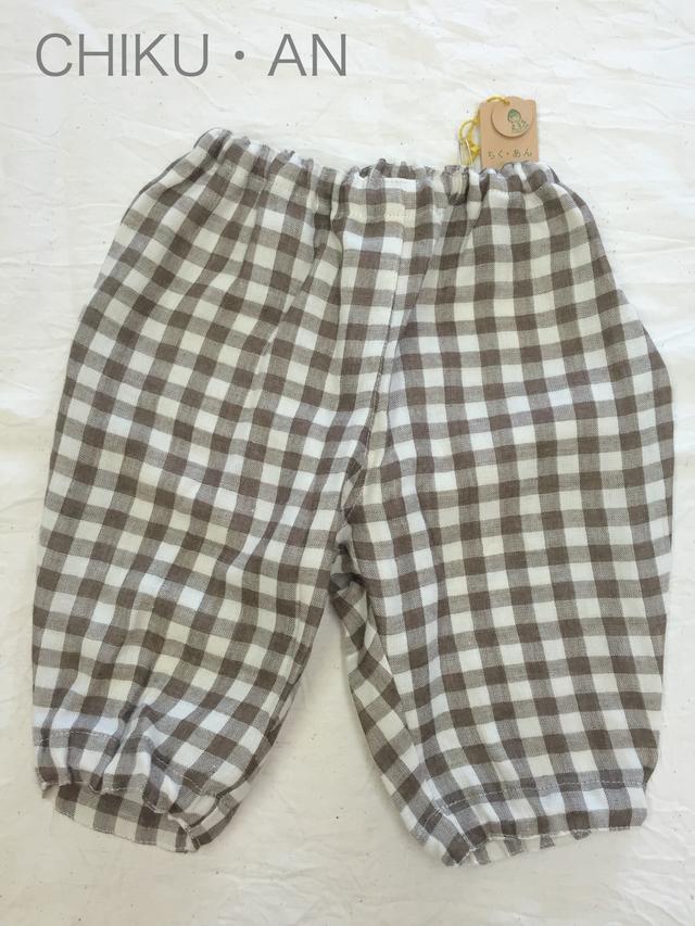 チェックガーゼのズボン(綿100%国産生地使用)