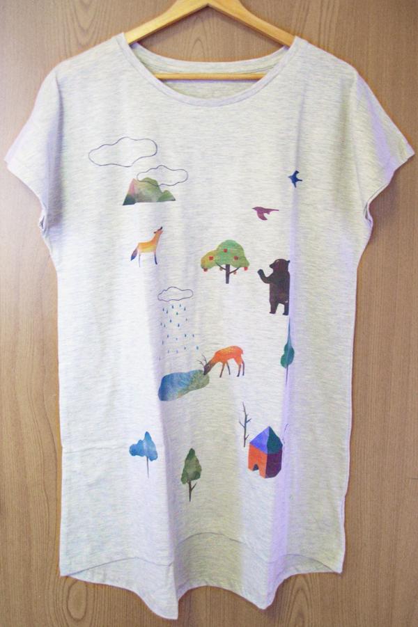 (再販)《里山の動物たち》ワンピースTシャツ