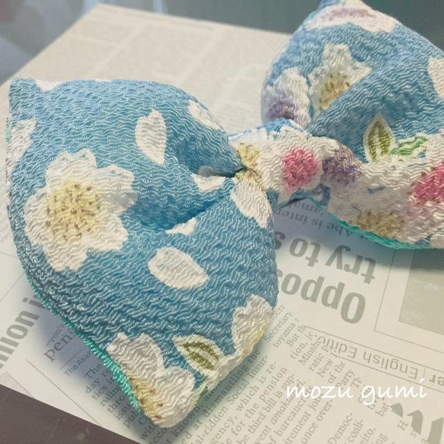 チリメンふっくらリボンバレッタ(桜・空色×水色)