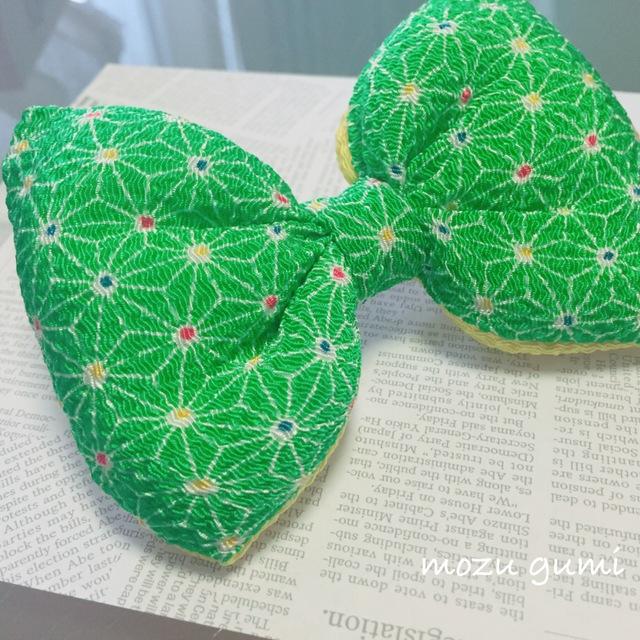 チリメンふっくらリボンバレッタ(麻の葉模様・黄緑×レモンイエロー)