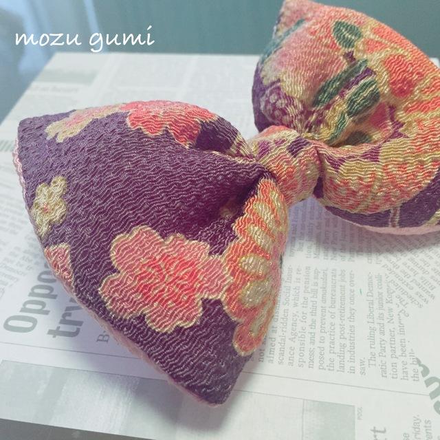 チリメンふっくらリボンバレッタ(桜・紫×ペールピーチ)