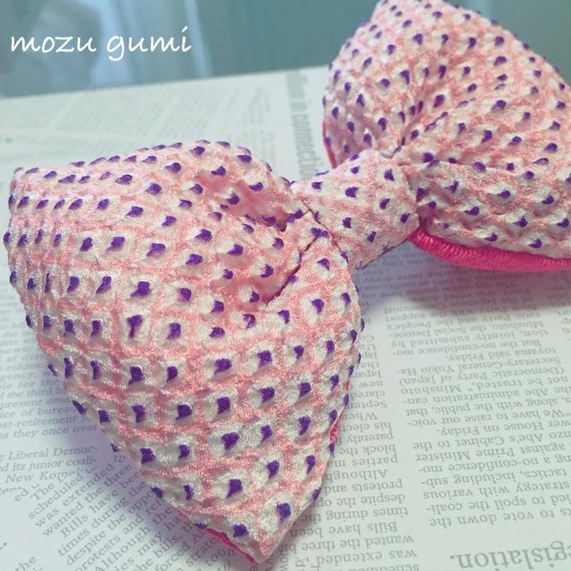 絞り染めふっくらリボンバレッタ(絞り染めピンク・紫×珊瑚)