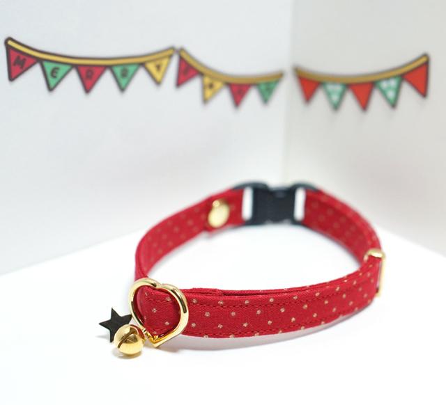 ★クリスマス★【猫用】金色ドットの首輪(赤)