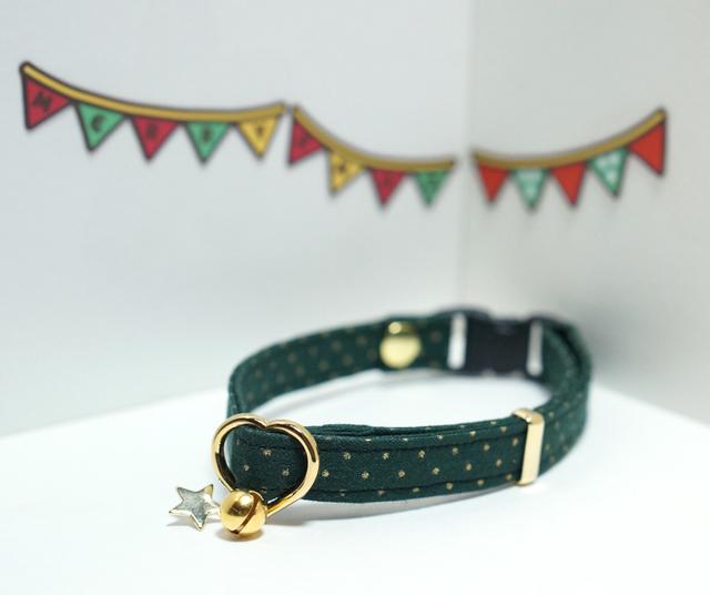 ★クリスマス★【猫用】金色ドットの首輪(緑)