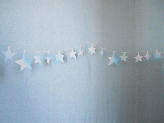 水色の星のガーランド