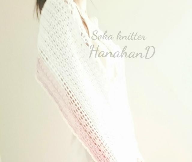 手編みレースショール ホワイト&ピンク