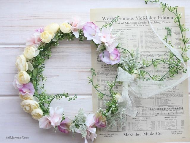 花冠ラナンキュラス(ホワイト&ピンク&ラベンダー)* バックガーランド付