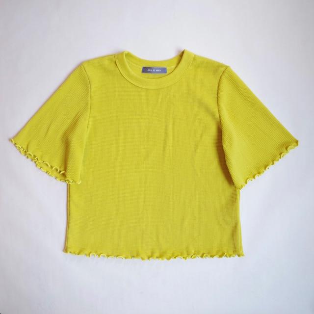 ワッフルショート丈プルオーバー(lime yellow)
