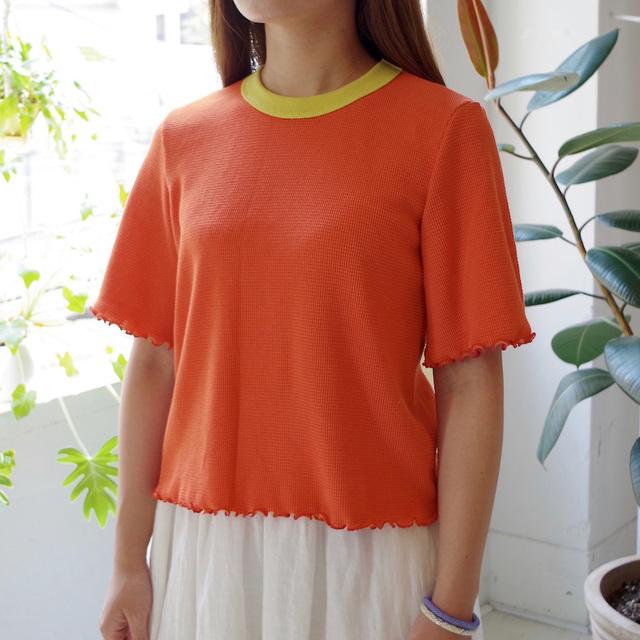 衿配色ワッフルショート丈プルオーバー(orange)