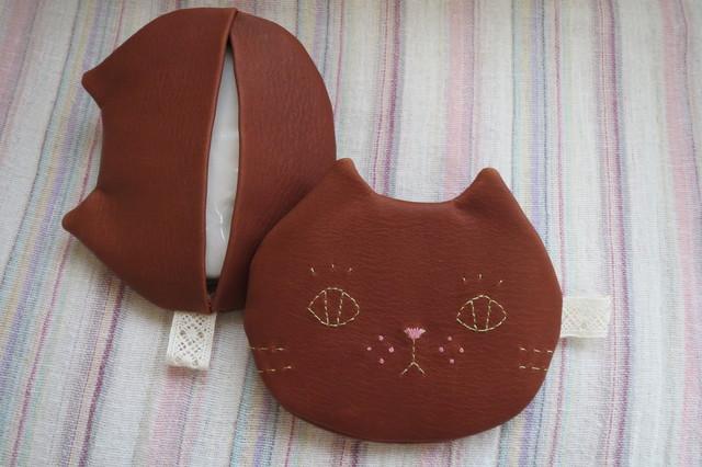ねこのお顔 ティッシュケース キャメル猫 牛革