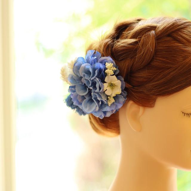 *お着物・成人式に!ブルーダリアの髪飾り♪【送料無料】