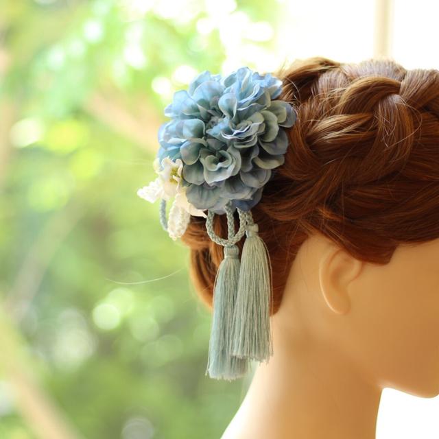 *お着物・成人式に!ライトブルーダリアとタッセルの髪飾り♪【送料無料】