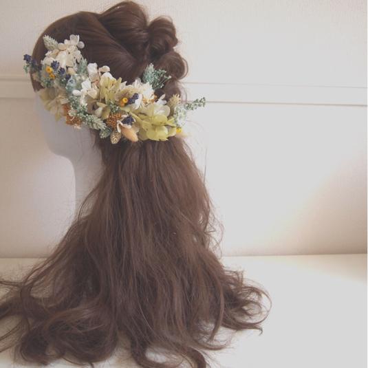 プリザーブドフラワーのナチュラルヘッドドレス 花飾り 結婚式 ...
