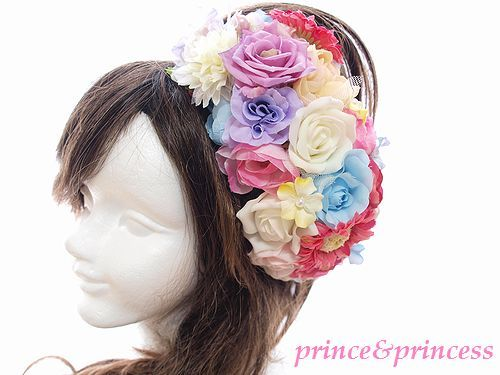 お花いっぱいの豪華なヘッドドレス