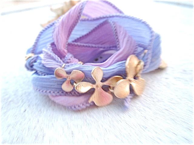☆再販☆ オーキッドのシルクリボンブレス(Pink&Lavender)