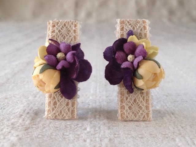 染め花のミニクリップ2個組(クリーム&パープル)