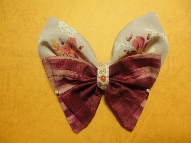 アンティークリボン&洋の花バレッタ(ジルコニア&カーネリアン装飾)