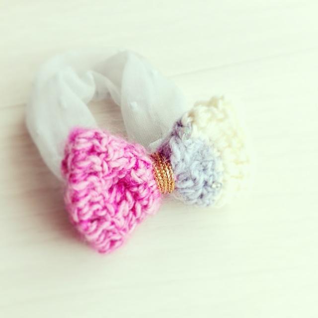 手編みリボンのヘアゴム