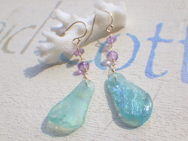 ??再販?? ローマングラスのマーメイドピアス Ocean Blue Roman Glass Earrings *14kgf*