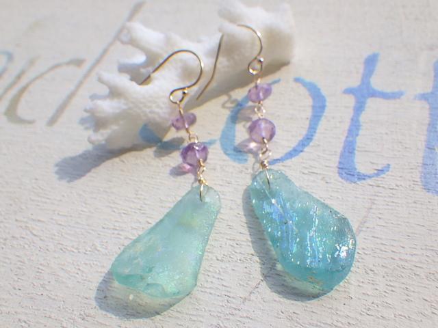 ??����?? �?�ޥ饹�Υޡ��ᥤ�ɥԥ�����Ocean Blue Roman Glass Earrings *14kgf*