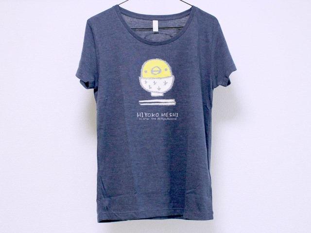 ひよこめしTシャツ girls-M ヴィンテージヘザーネイビー