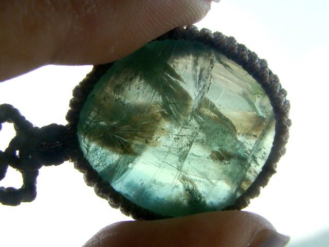 天然石 グリーンフローライトのマクラメ...