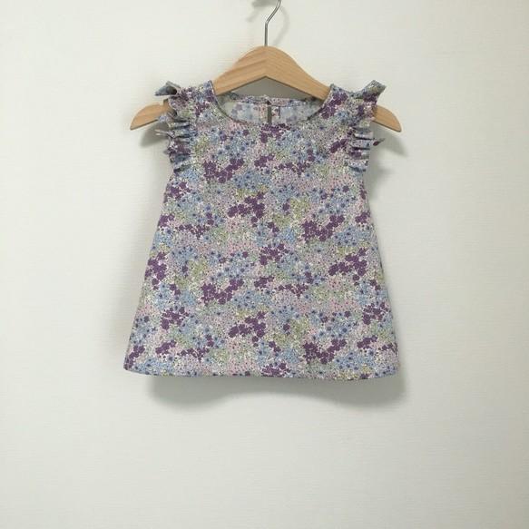 【再販】変形フリル袖トップス小花柄パープル サイズ90