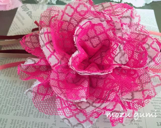 【お子様用】ピンク×グレー(トルコ格子)+花柄ヘアーバンド