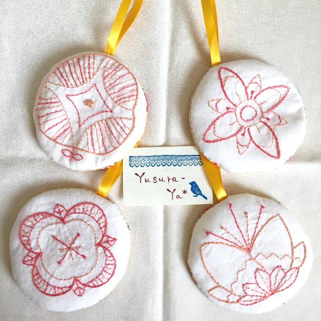 花モチーフ*刺繍オーナメントセット