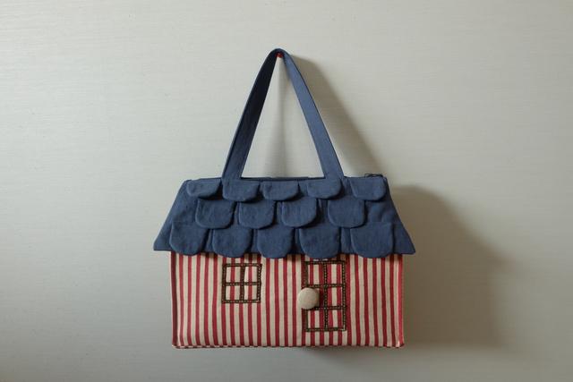 OUCHI box bag L  赤白ストライプのおうち