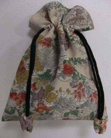 着物リメイク 花柄の訪問着で作った巾着袋 1707