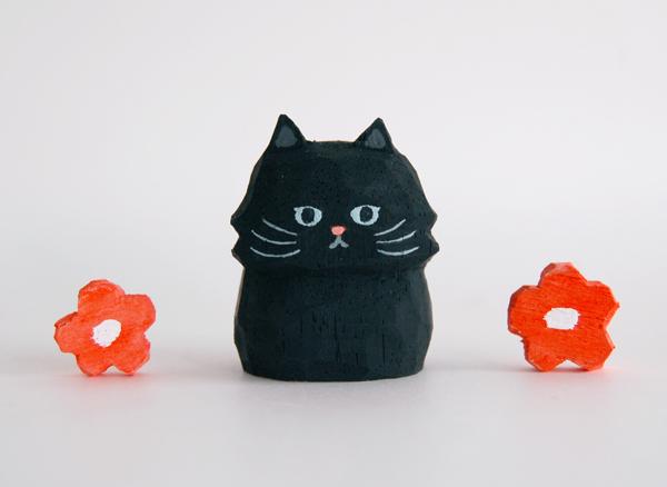 木彫り人形ねこ 黒ネコ [MWF-200]