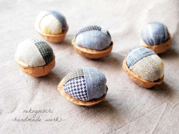 クルカラ(胡桃の殻)のリネンボール(2個セット) 【猫おもちゃ】