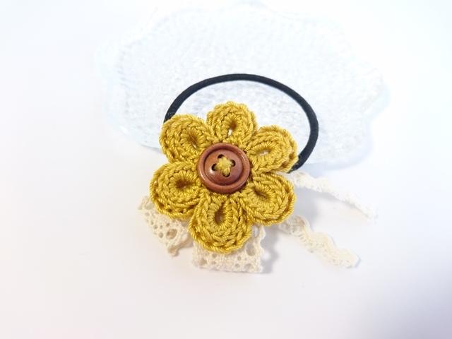 黄色いお花のヘアゴム レース編み