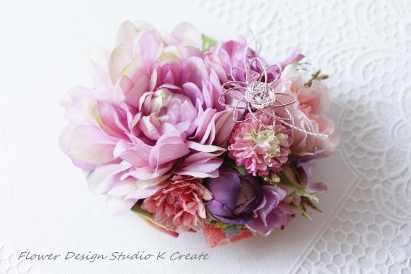 成人式に?モーブピンクのダリアと薔薇のヘッドドレス