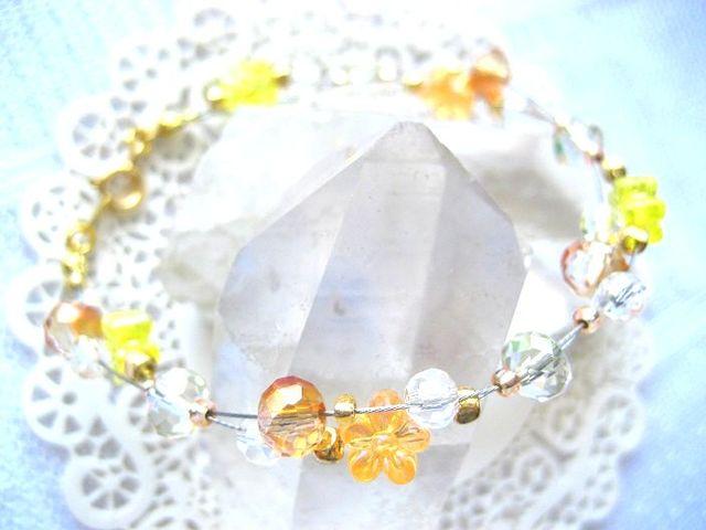 シトラスオレンジの小花ブレスレット_505