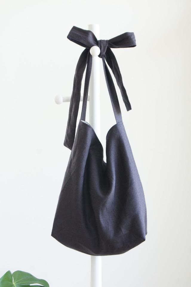 リネンリボンのバッグ(ブラック)