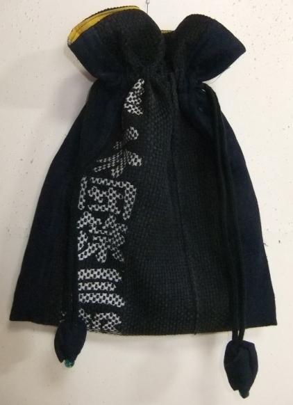 着物リメイク 藍と消防団服で作った巾着袋 1713