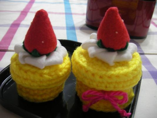 売り切れ【おまけ付き/送料無料】いちごケーキの小物入れ(黄色の大小セット)