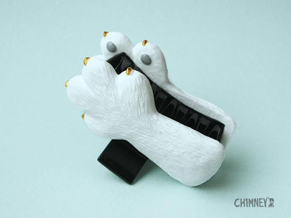 ネコも白刃取りヘアクリップ[white]