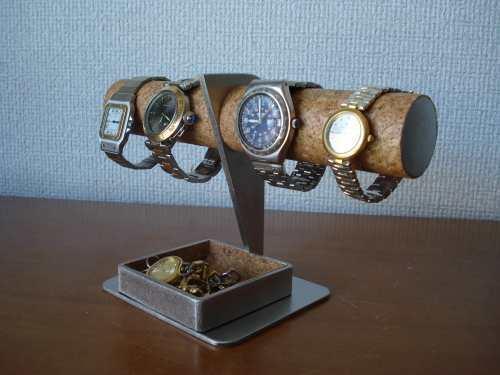 \t ウォッチスタンド 4本掛けデカイトレイ腕時計スタンド
